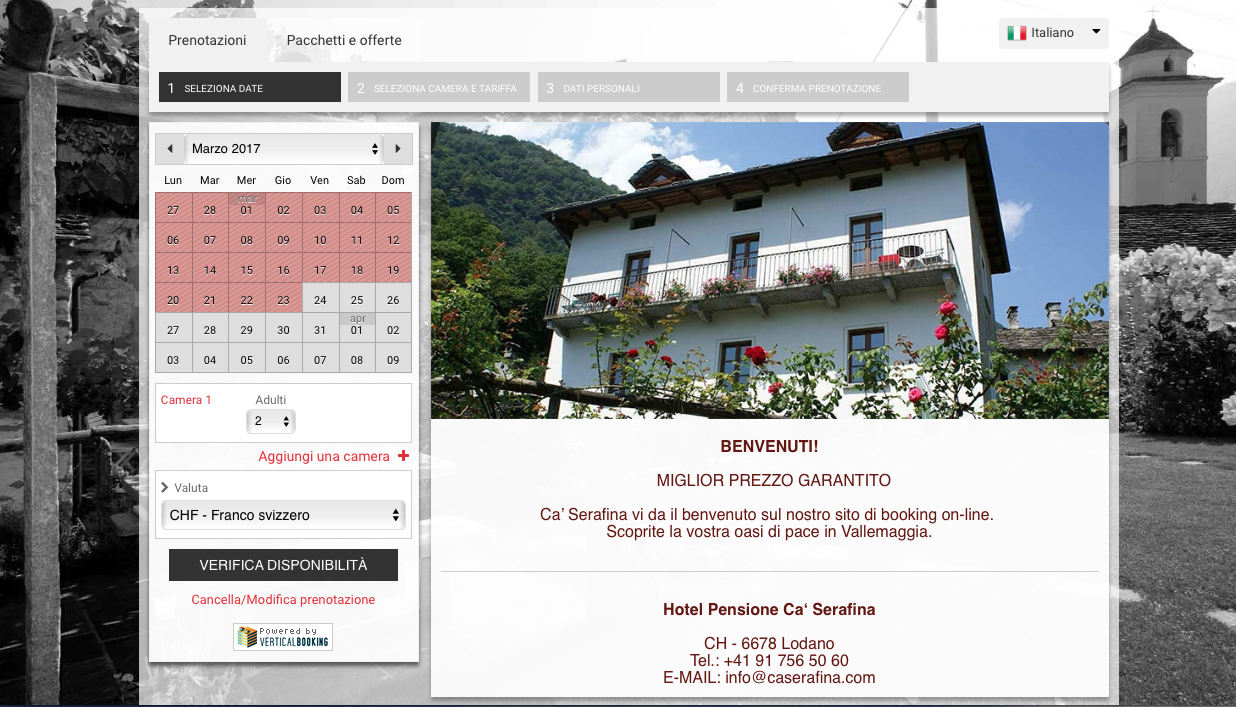 NEW Ca' Serafina on-line reservation system.
